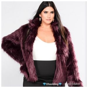 Faux Fur Burgandy Coat